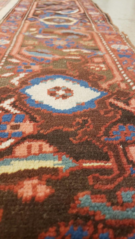 Antique Persian Bakhshaish Carpet, Handmade Wool Oriental Rug, Ivory Light Blue For Sale 2