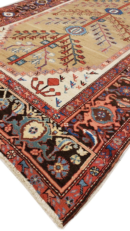 Antique Persian Bakhshaish Carpet, Handmade Wool Oriental Rug, Ivory Light Blue For Sale 3