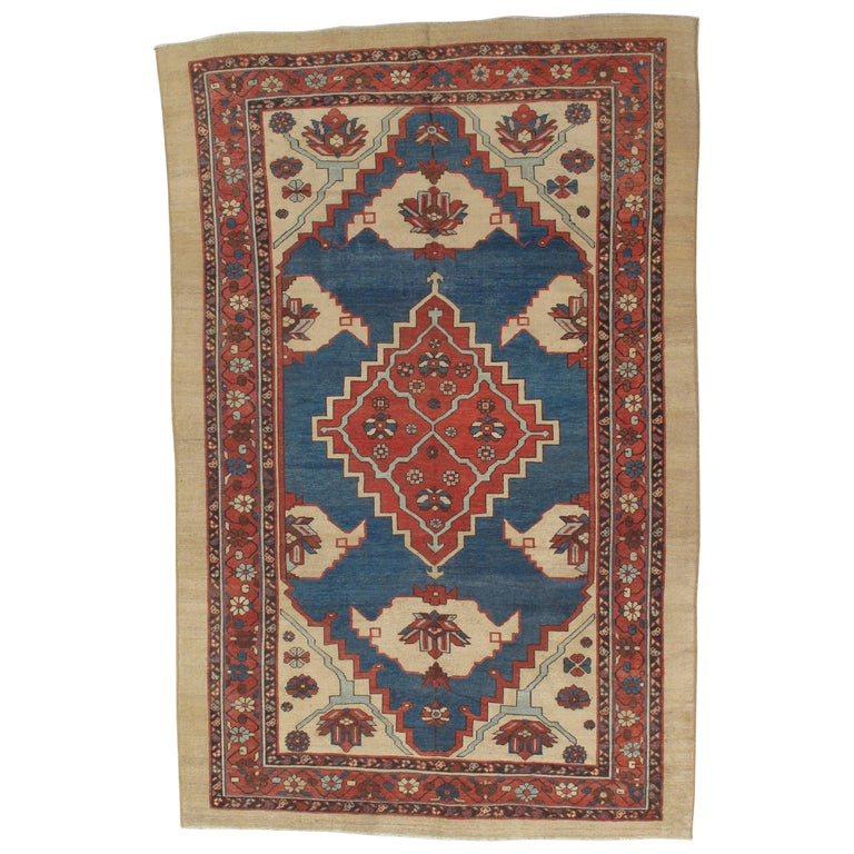 Antique Persian Bakhshaish Carpet, Handmade Wool Oriental Rug, Ivory Light Blue For Sale