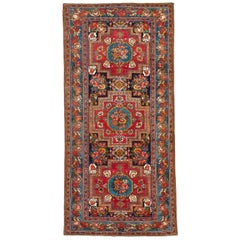Antique Persian Bakhtiar Rug with Blue and Red Floral Medallions