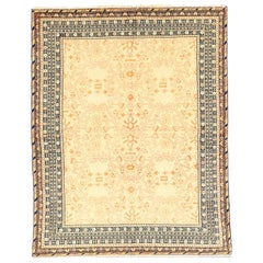 Antique Persian Bakhtiar Rug with Brown and Pink Floral Details on Ivory Field