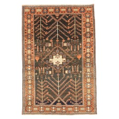 Antique Persian Bakhtiar Rug with Gray and Red Floral Details on Black Field
