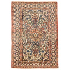 Antique Persian Bakhtiar Rug with Green and Blue Floral Details on Ivory Field