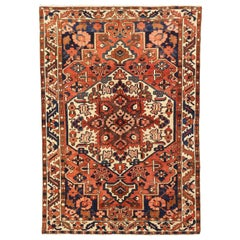 Antique Persian Bakhtiar Rug with Large Floral Medallion on Ivory Field