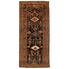 Antique Persian Bakhtiar Rug with Red, Blue and Ivory Diamond Central Medallions