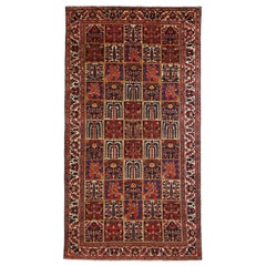 Antique Persian Bakhtiar Rug with Red, Blue and White Floral Tile Details