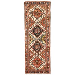 Antique Persian Bakhtiar Rug with Red and Navy Floral Details on Ivory Field