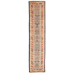 Antique Persian Bakhtiar Runner Rug with Colored Diamond Details on Ivory Field