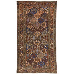 Antique Persian Bakhtiari Gallery Rug with Four Seasons Garden Design