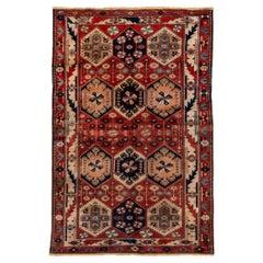 Antique Persian Bakhtiari Rug, Allover Red, Navy & Ivory Field, Circa 1930s
