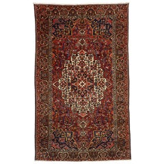 Antique Persian Bakhtiari Rug with English Country Style Manor House