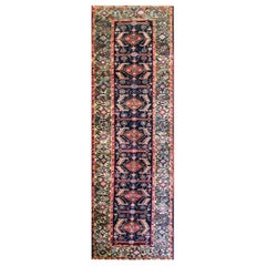 Antique Persian Bakhtiari Runner, Green Border