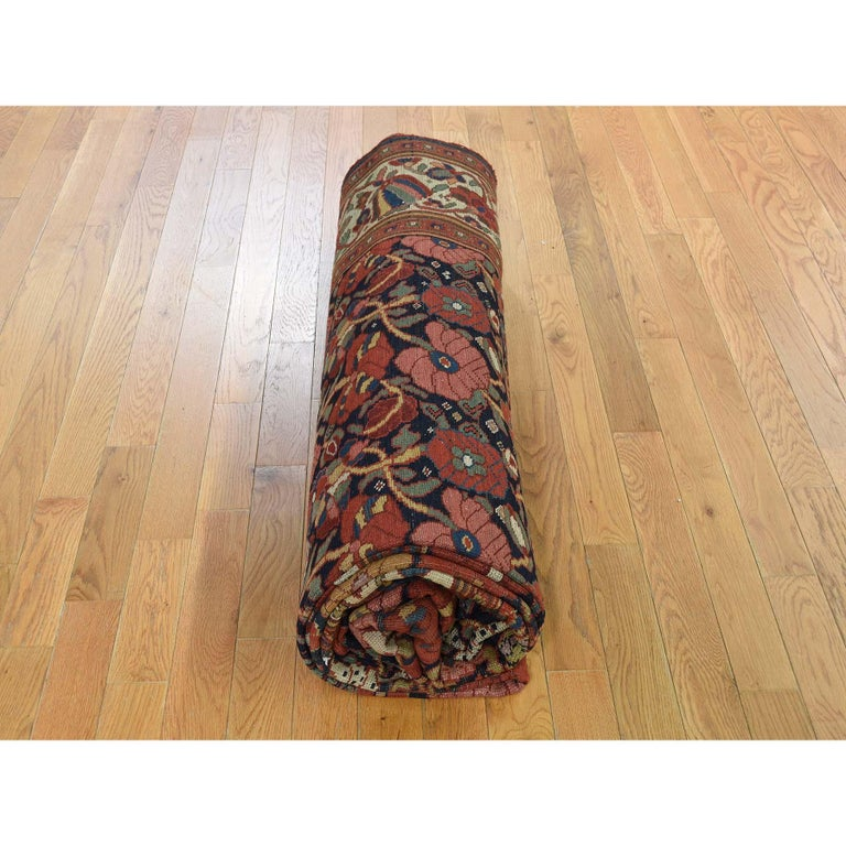 Antique Persian Bakhtiari Wide Gallery Runner Flower Design Hand Knotted For Sale 3