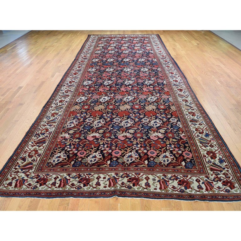 Other Antique Persian Bakhtiari Wide Gallery Runner Flower Design Hand Knotted For Sale