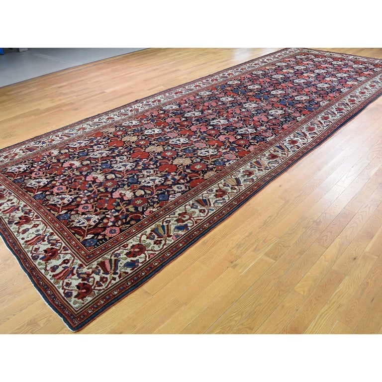 Hand-Knotted Antique Persian Bakhtiari Wide Gallery Runner Flower Design Hand Knotted For Sale