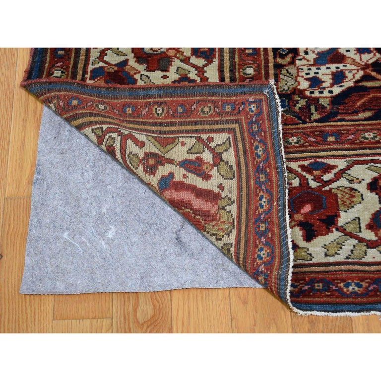 Antique Persian Bakhtiari Wide Gallery Runner Flower Design Hand Knotted In Good Condition For Sale In Carlstadt, NJ