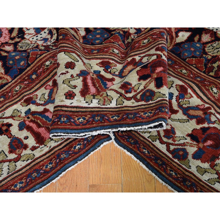 20th Century Antique Persian Bakhtiari Wide Gallery Runner Flower Design Hand Knotted For Sale