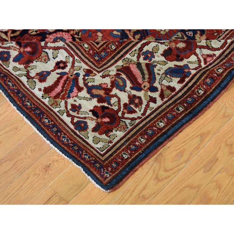 Wool Antique Persian Bakhtiari Wide Gallery Runner Flower Design Hand Knotted For Sale