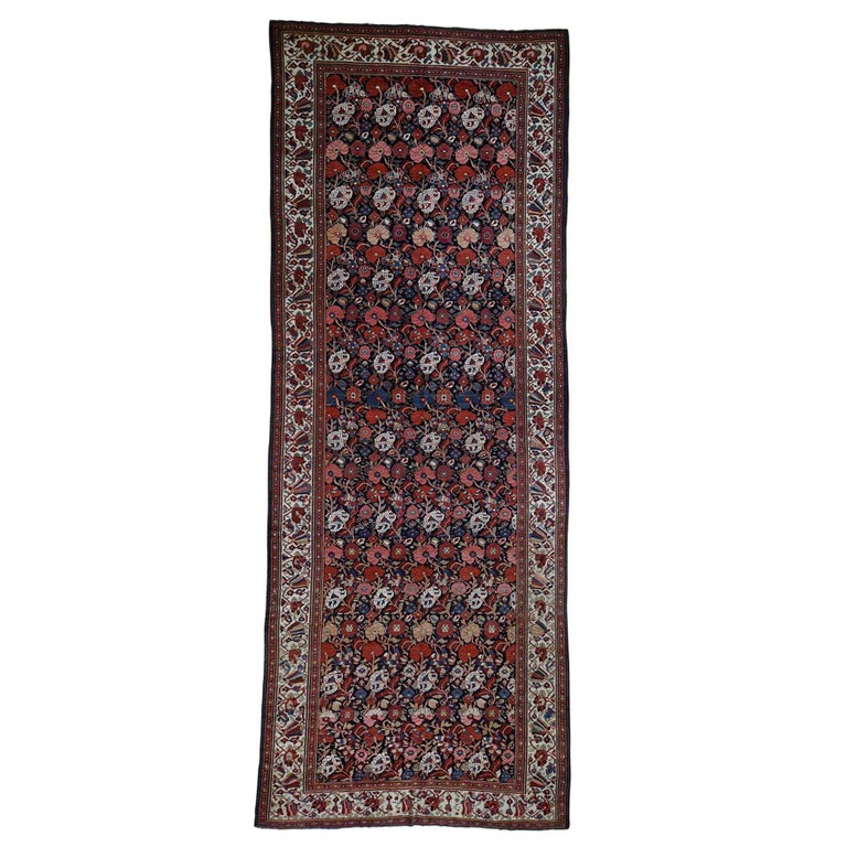 Antique Persian Bakhtiari Wide Gallery Runner Flower Design Hand Knotted For Sale