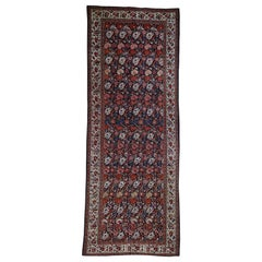 Antique Persian Bakhtiari Wide Gallery Runner Flower Design Hand Knotted Rug