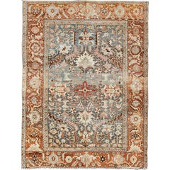 Antique Persian Bakshaish Rug with Medallions and Flower Motifs