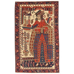 Antique Persian Baluch Rug with a Portrait Pattern in Navy and Red