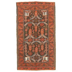Antique Persian Baluch Rug with Red and White Geometric Patterns