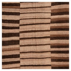 Antique Persian Beige and Brown Wool Kilim