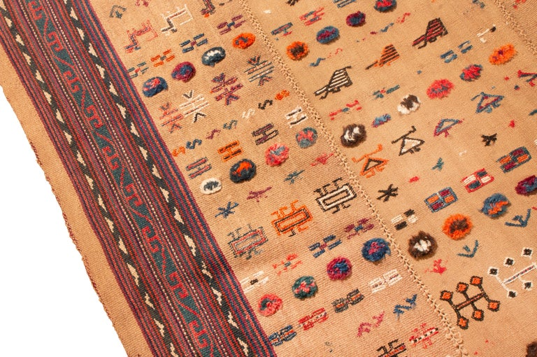 Antique Persian Beige and Red Kilim-Jajim Wool Rug In Good Condition In Long Island City, NY