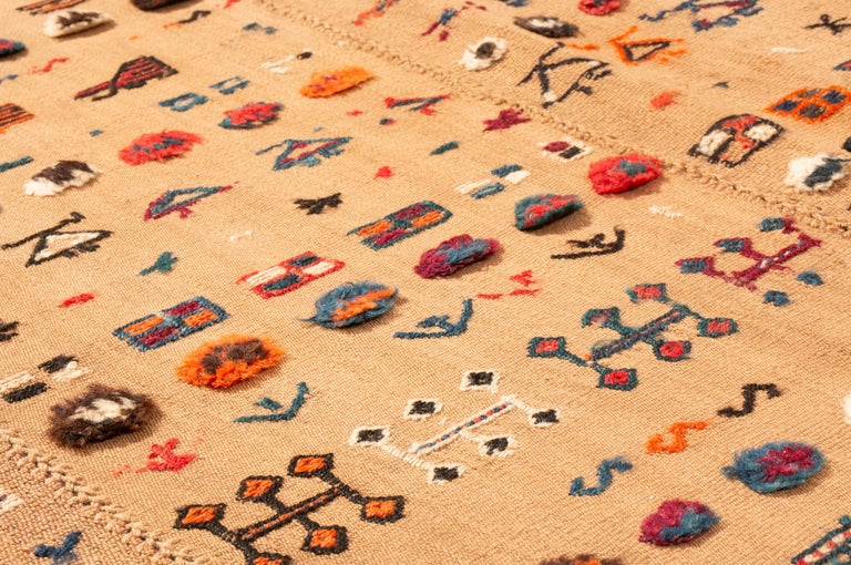 Antique Persian Beige and Red Kilim-Jajim Wool Rug 1