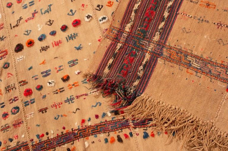 Antique Persian Beige and Red Kilim-Jajim Wool Rug 3