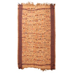 Antique Persian Beige and Red Kilim-Jajim Wool Rug