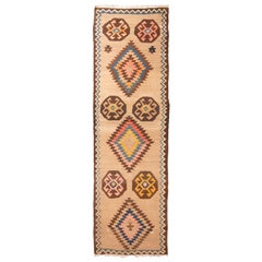 Antique Persian Beige and Wool Kilim Runner with Pastel Accents