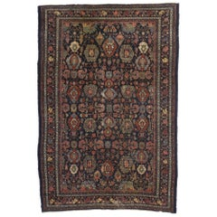 Antique Persian Bibikabad Area Rug with Dragon Vine Border and Traditional Style