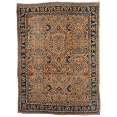 Antique Persian Bidjar, All-Over Design on Rust Field, Wool, Room Size, 1895