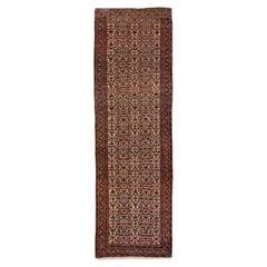 Antique Persian Bidjar Handmade Allover Floral Multicolor Wool Runner