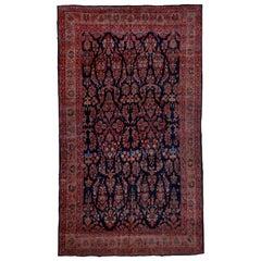 Antique Persian Bidjar Mansion Carpet, Navy Field, circa 1920s