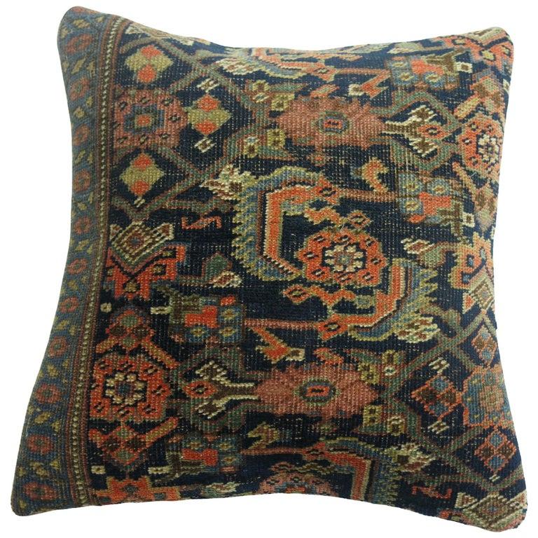 Antique Persian Bidjar Rug Pillow For Sale