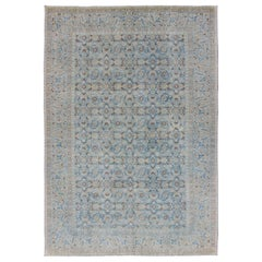 Antique Persian Bidjar Rug with All-Over Design in Light Blue and Pale Cream
