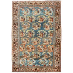Antique Persian Bidjar Rug with Blossoming Floral Design in Blue and Red