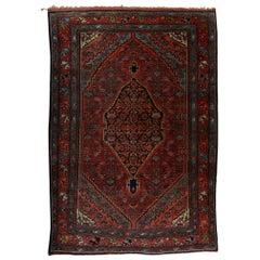 Antique Persian Bidjar Wool Oriental Rug with Center Pendant, circa 1920