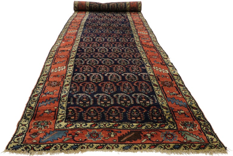 Hand-Knotted Antique Persian Bijar Runner with Boteh Design and Modern Victorian Style For Sale
