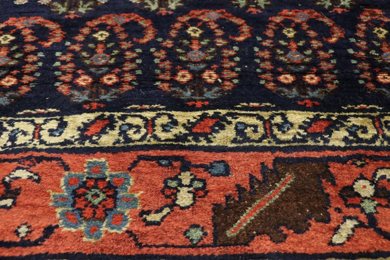 Antique Persian Bijar Runner with Boteh Design and Modern Victorian Style In Good Condition For Sale In Dallas, TX