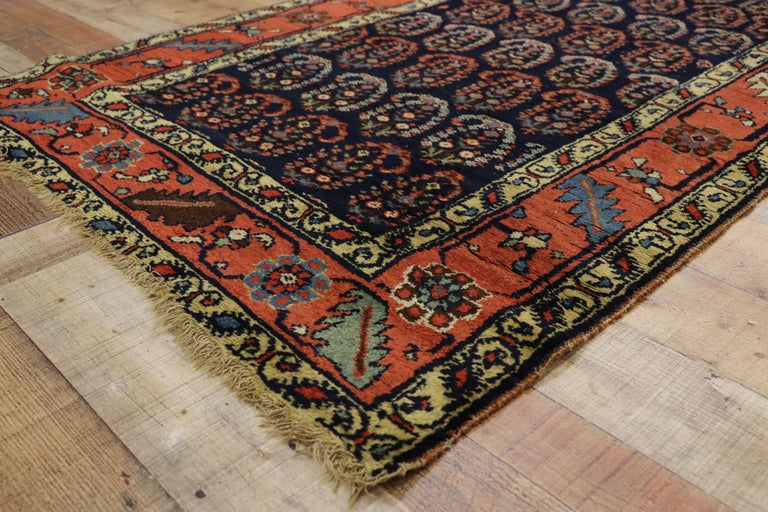 Antique Persian Bijar Runner with Boteh Design and Modern Victorian Style For Sale 1
