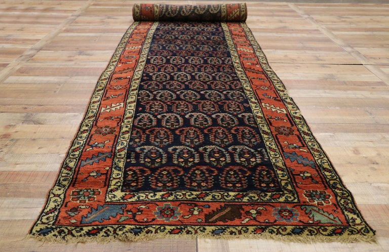 Antique Persian Bijar Runner with Boteh Design and Modern Victorian Style For Sale 2