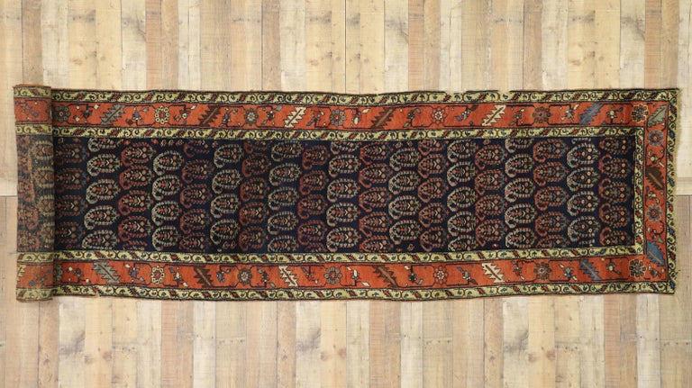 Antique Persian Bijar Runner with Boteh Design and Modern Victorian Style For Sale 3