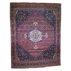 Antique Persian Bijar Pure Wool Extra Wide Gallery Hand Knotted Oriental Rug