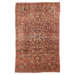 Antique Persian Bijar Rug with Ivory and Black Floral Details on Red Field