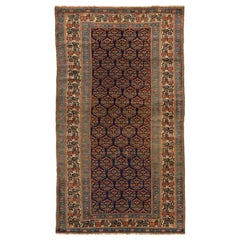 Antique Persian Bijar Rug with Red & Green Medallions on Navy Blue Center Field