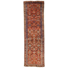 Antique Persian Bijar Runner Rug with Blue & White Floral Medallions
